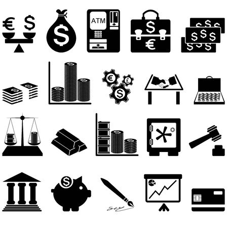 Financial icon set. Twenty items. Vector illustration.  Vector