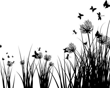 蝶と花の牧草地の背景。ベクトル イラスト。