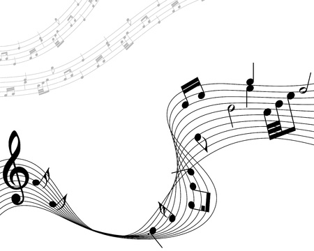 music dj: Musical note staff. Vector illustration without transparency effect.