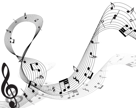 music loudspeaker: Musical note staff. Vector illustration without transparency effect.