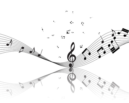Musical note staff. Vector illustration without transparency effect. Vector