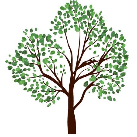 Summer tree with green leaves. EPS 10 vector illustration. Stock Vector - 19802310