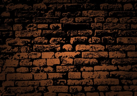 old brick wall: Grunge color brick wall background. Vector illustration with transparency.