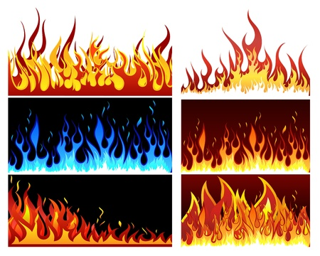Big collection of fire elements  Fully editable EPS 10 vector illustration