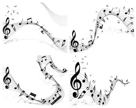 Musical note staff set  Four images  Vector illustration  Vector