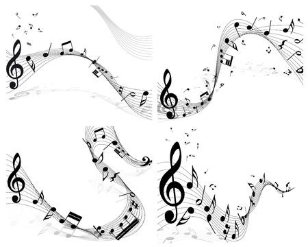 pentagrama musical: Personal de la nota musical fijó cuatro imágenes Ilustración vectorial