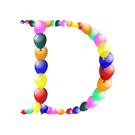 helium: Color balloon alphabets letter illustration with transparency.