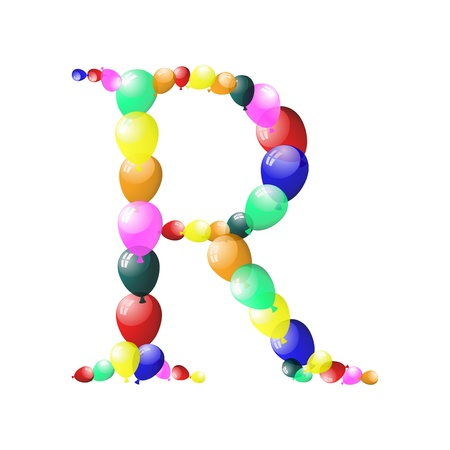 Color balloon alphabets letter illustration with transparency. Vector