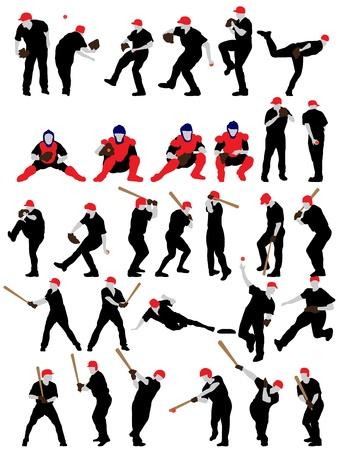 homerun: Set of detail baseball athlete silhouettes.