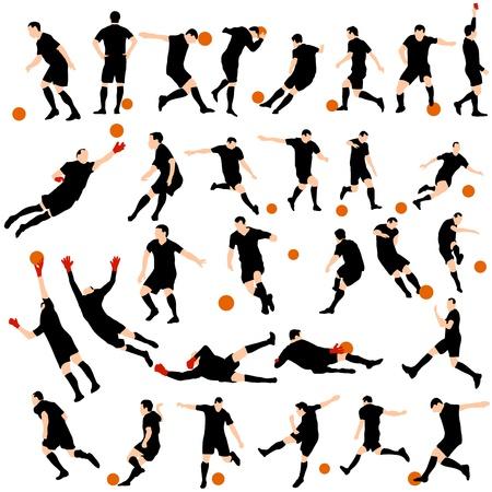 Set Detail Fußball Silhouetten. Standard-Bild - 20178768