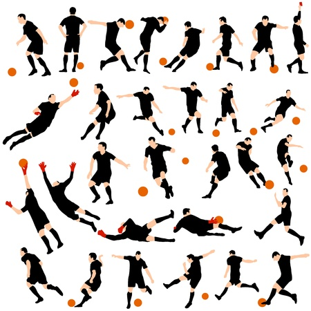 Set of detail soccer silhouettes.