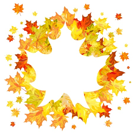 Autumn maple leaves background  Vector illustration without transparency EPS10