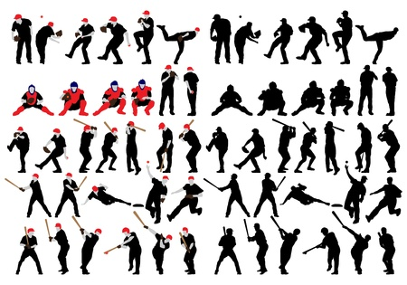 fully editable: Set  of detail baseball athlete silhouettes. Fully editable EPS 10 vector illustration.