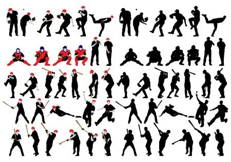 Set van detail honkbal atleet silhouetten. Volledig bewerkbare EPS-10 vector illustratie. Stock Illustratie