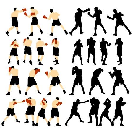 詳細ボクシング シルエットのセットです。完全に編集可能な EPS 10 ベクトル イラスト。  イラスト・ベクター素材