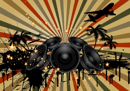 loud speaker: Musical grunge background. vector illustration wthout transparency.