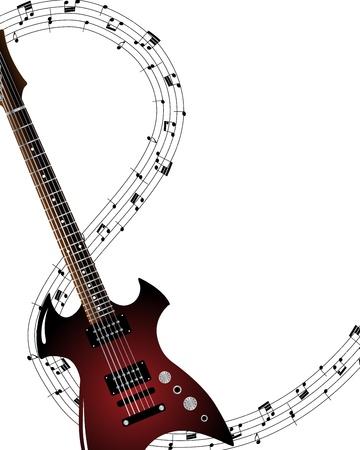 guitar neck: Musical grunge background. illustration wthout transparency. Illustration