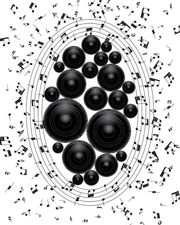 Musical grunge background.illustration wthout transparency. Vector