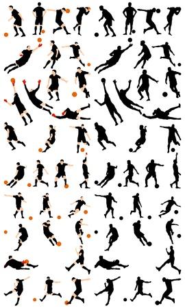 jugadores de futbol: Conjunto de siluetas detalle de f�tbol. Ilustraci�n completamente editable.