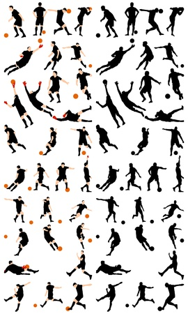 goal kick: Set of detail soccer silhouettes. Fully editable  illustration. Illustration