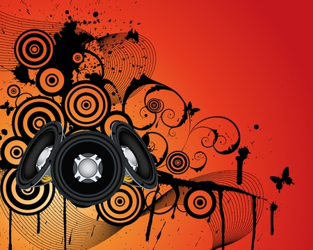 acoustic systems: Musical grunge background. illustration wthout transparency. Illustration