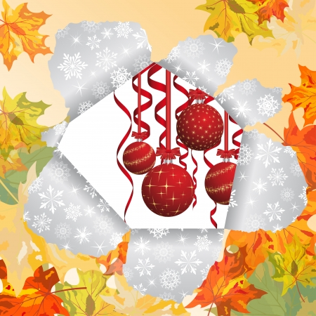 Christmas and New Year background after autumn.  Vector