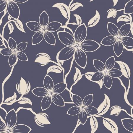 Nahtlose Blumenmuster. F?r die einfache Herstellung nahtloser Muster ziehen alle in die Gruppe Farbfelder Bar, und verwenden Sie es zum Ausf?llen alle Konturen. Standard-Bild - 22734496