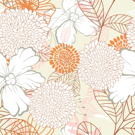 Seamless floral pattern. For easy making seamless pattern just drag all group into swatches bar, and use it for filling any contours. Imagens - 22775066
