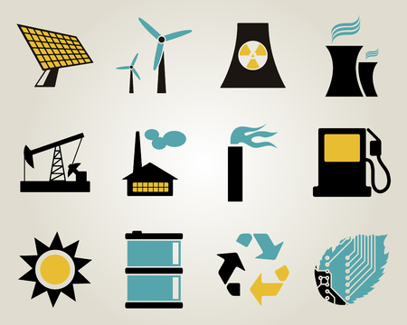 Electricity, power and energy icon set. Vector
