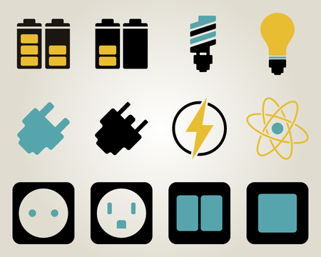 spark plug: Electricity and energy icon set.  Illustration