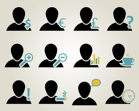 Office and people icon set. Vector