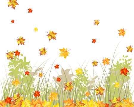 Meadow background with maple leaves. All objects are separated. Stock Vector - 22775139