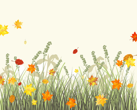 Meadow background with maple leaves. All objects are separated.  Stock Vector - 22775140