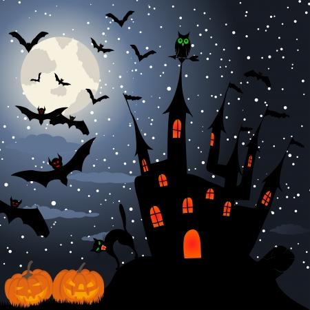 Happy halloween theme greeting card illustration. Vector
