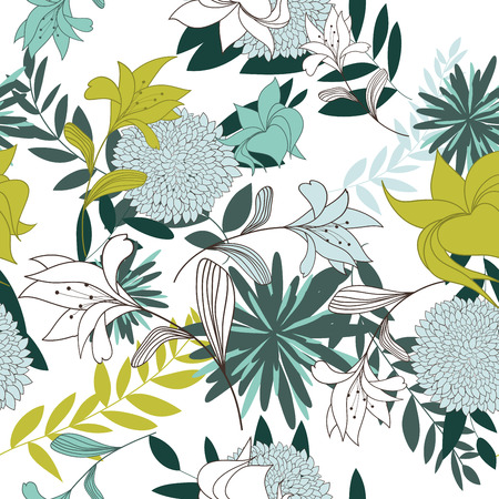 Seamless vector floral pattern. For easy making seamless pattern just drag all group into swatches bar, and use it for filling any contours. EPS 10. Stock Vector - 22972234