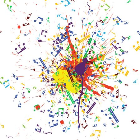 notes musical: Musical notes flying from grunge blob. EPS 10 Vector illustration.