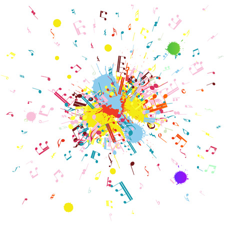 Musical notes flying from grunge blob. EPS 10 Vector illustration. Vector