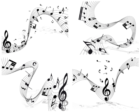 notes: Musical note staff set. EPS 10 vector illustration without transparency.