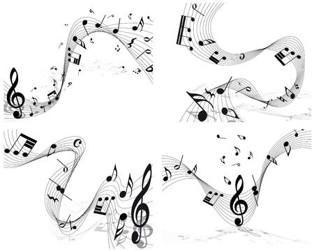 swirl backgrounds: Personale nota musicale impostato. EPS 10 illustrazione vettoriale senza trasparenza.
