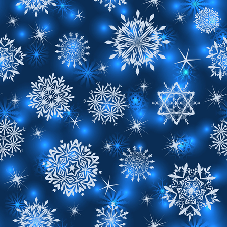 Seamless snowflake patterns. Fully editable vector illustration with transparency. Vector