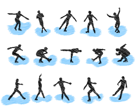 ice rink: Set of figure skating grunge silhouettes. Fully editable  illustration. Illustration