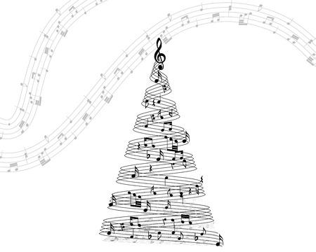 Musical note staff on christmas fir. Vector illustration