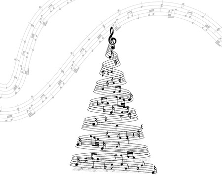 notes: Musical note staff on christmas fir. Vector illustration