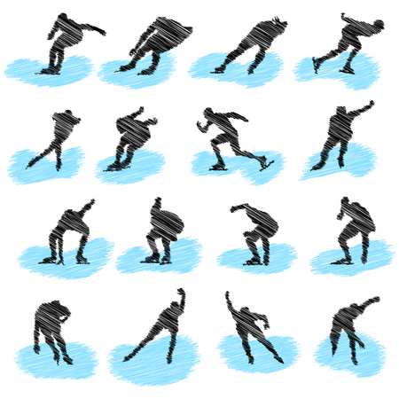 Set of ice-skating athlete grunge silhouettes. Fully editable  illustration. Vector
