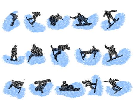 Set of snowboard athlete grunge silhouettes. Fully editable  illustration. Illustration