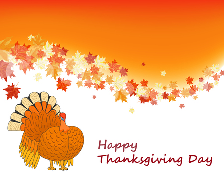 Thanksgiving Day background with maple leaves. All objects are separated. Vector illustration with transparency and meshes. Eps 10. Vector