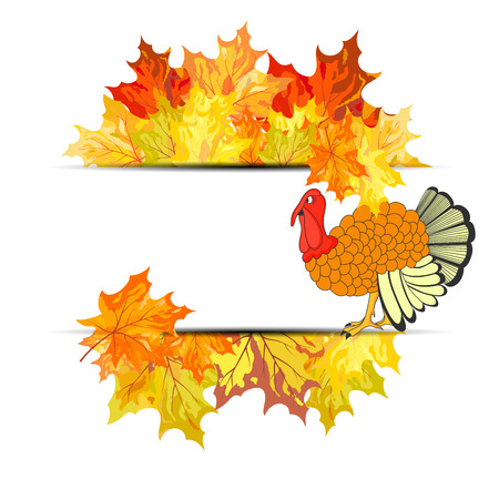 Thanksgiving Day background with maple leaves. All objects are separated. Vector illustration with transparency.  Vector