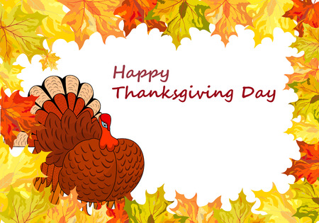 funny turkey: Thanksgiving Day background with maple leaves. All objects are separated. Vector illustration  Illustration