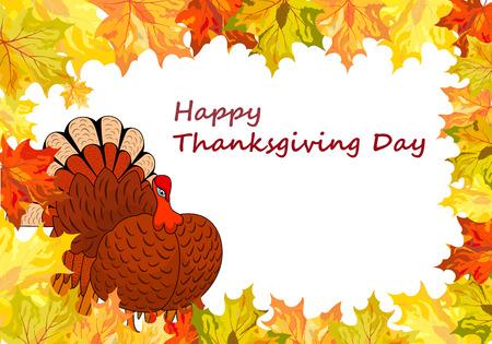 thanksgiving day symbol: Thanksgiving Day sfondo con le foglie d'acero. Tutti gli oggetti sono separati. Vector illustration Vettoriali
