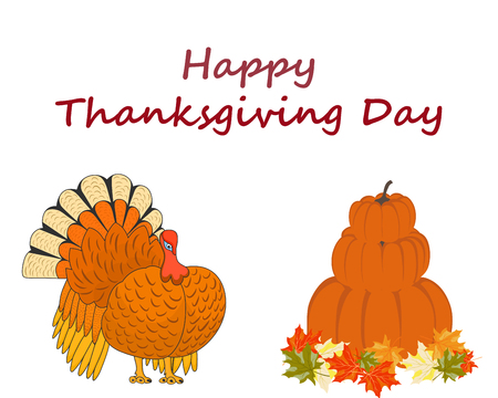 Thanksgiving Day background with maple leaves. All objects are separated. Vector illustration  Illustration